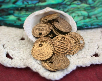 Brass Coins, Coin Charms, Brass Coin Stampings, Belly Dancing Coins, Costume Coins MB-015-30