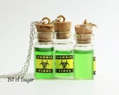 Zombie Virus Miniature Bottle Potion Necklace - Miniature Magic Potion Bottle Necklace - Proceeds go to Child's Play Charity