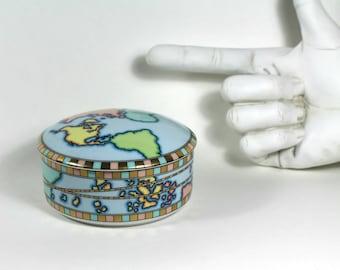 Vintage Tiffany & Co. Trinket Box--porcelain, World Globe Pattern
