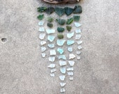 RESERVED Sea Glass & Driftwood Mobile - Dark Green, Aquamarine, and White