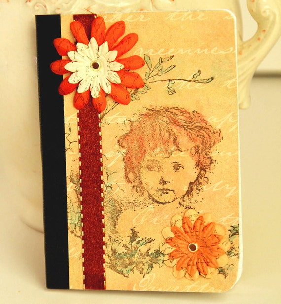 Girl Mini Journal Altered Composition Book