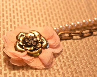 Antique Bronze and Pearl Necklace with Pink Chiffon Floral Pendant
