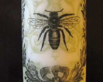 French Bee with Wreath 6 Inch Pillar Candle