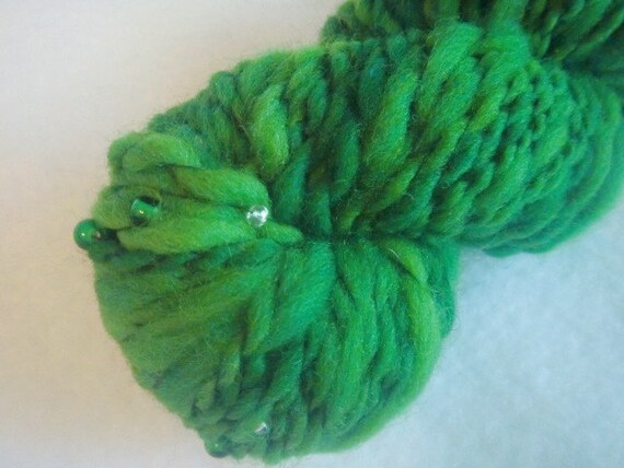 Reserved for Karen Handspun Art Yarn 67.5 yards, 1.8 oz Little Mermaids Tail- Going Green