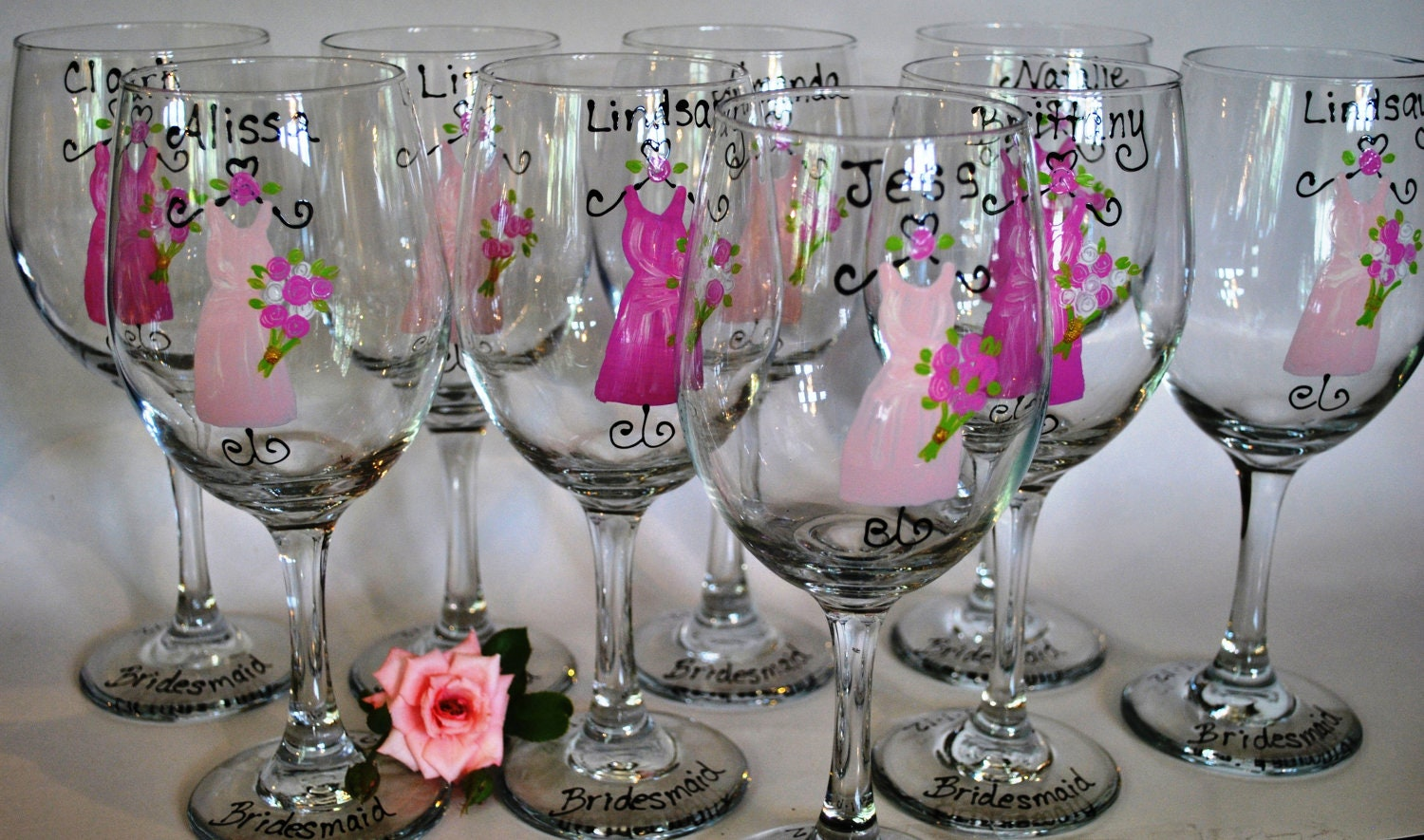 hand painted bridal party wedding wine glasses by thetoasthostess