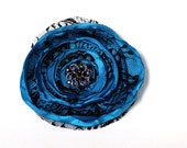 Black and Blue Hair Flower Fascinator - Lace, Oasis, Malibu, Goth, Romantic 4""