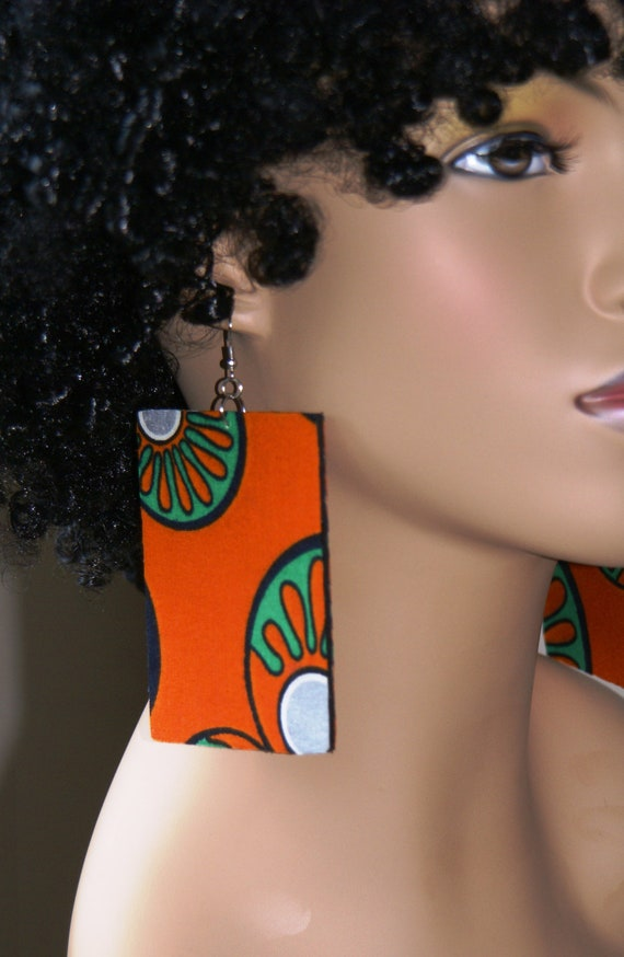 Large Fabric Covered Wood Earrings