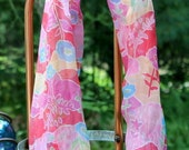 Pink Floral, Crinkled Sheer Silk Infinity Scarf, colorful with turquoise, yellow, red, pink , orange, white, lavender