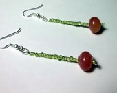 Watermelon Jade Beaded Earrings, One of a Kind, Ready for shipping