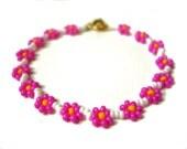 Flower Girl Beaded Bracelet, Pink Flower Bracelet, Little Girls Bracelet, Childrens Jewelry UK