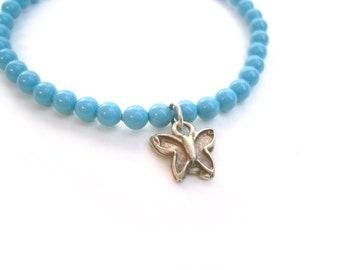 Butterfly Bracelet, Blue Swarovski Bead Bracelet, Elastic Bracelets, Swarovski Jewelry UK