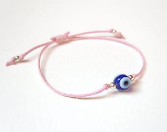 Evil Eye Bracelet, Pink String Bracelet, Turkish Eye Jewelry, Glass Bead Jewelry, Gifts For Teenagers