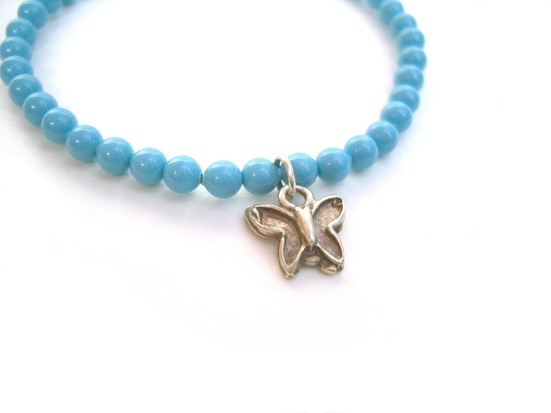 butterfly bracelet blue swarovski bead bracelet elastic