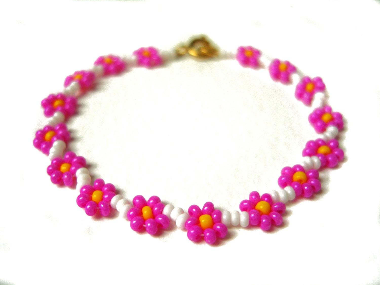flower beaded bracelet pink flower bracelet
