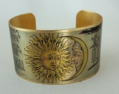 Medium size Brass Cuff with graphic - Sun and Moon - Alchemy - GypsyTearsJewelry