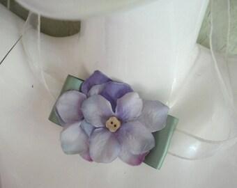 Hydrangea Choker Necklace or Bracelet, Flower Necklace, Wedding Choker, Bridesmaids, Flower Girls, Flower Bracelet, Lavender Hydrangeas