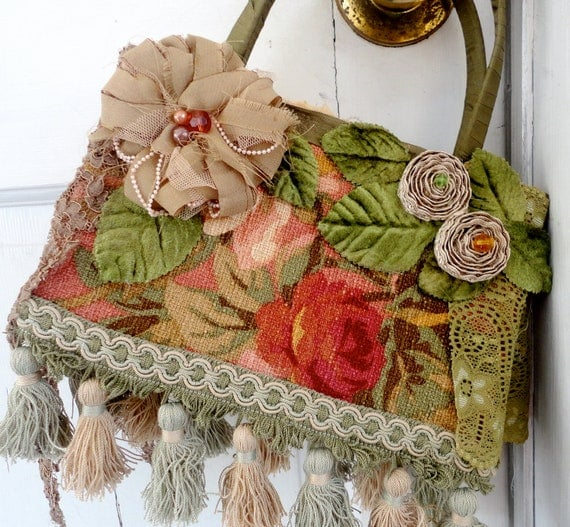 Bohemian Decorated Handbag, Greens and Reds