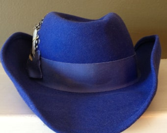 1970s Vintage Wool Hat / Royal Blue / Feathers / Brimmed Hat /  Large Fedora / Bollman
