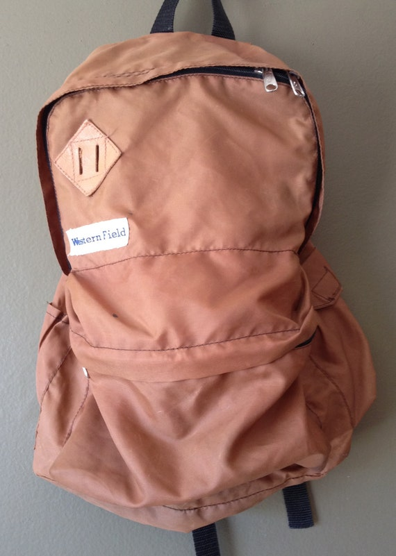 1980s Vintage Western Field Backpack / Nylon / Bag / Camping / Boy Scout / Wards
