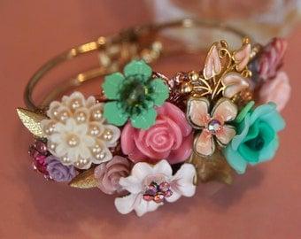 Wedding Jewelry Bracelet,Handmade Shabby Chic,Floral Bouquet Cuff,Bridal Bracelet,Vintage Style,Colorful Wedding Cuff,Gold Bracelet,OOAK