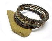 Tribal Bracelet Bangle Set Forest Child II - Ethnic Recycled fabric wire wrapped. 5 Bangles.