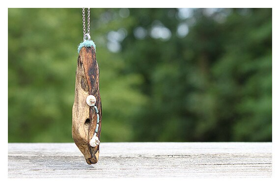 Tribal Pendant Necklace, Driftwood, Felt and Bone  - OOAK