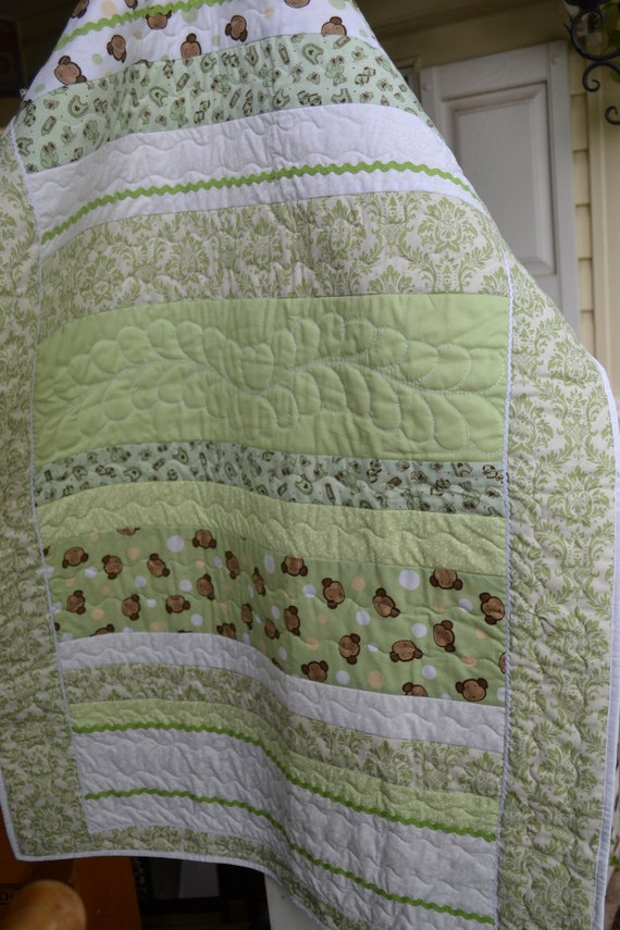Baby Quilt Monkey Face Green Damask Quilt including 2 extra crib pillows