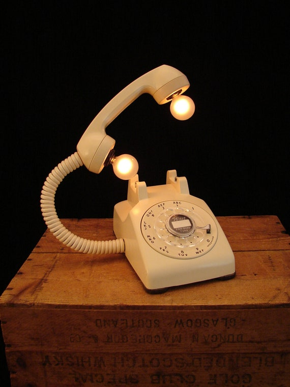 Upcycled Vintage Tan Rotary Telephone Lamp