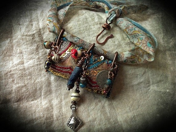 Gypsy Amulet Necklace Vintage Embroidered Textiles By Quisnam