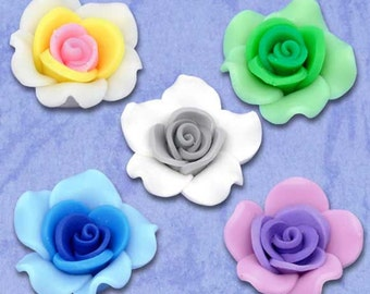 SALE Polymer Clay Flowers - Assorted Beads - 25x14mm - 5pcs - Ships IMMEDIATELY  from California - B111
