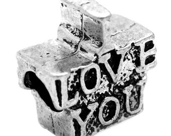 SALE I Love You Beads - WHOLESALE - Antique Silver - Charm Beads - 15x13mm - 20pcs - Ships IMMEDIATELY from California - B723a