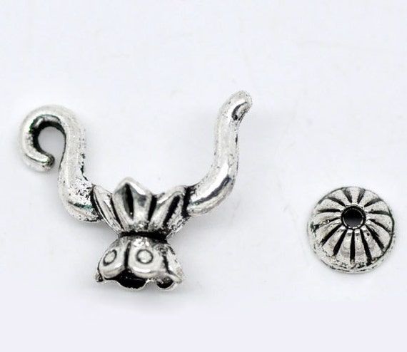 3 (sets) Silver Tea Pot Charm Bead Cap Findings 19x15mm - Ships Immediately from California - SC239