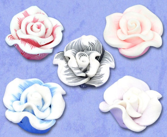 Rose Beads Assorted - Polymer Clay - 22x12mm - 5pcs - Ships IMMEDIATELY  from California - B106