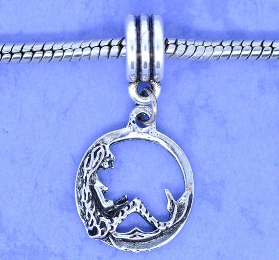 5 Silver Mermaids - Antique Silver - Charm Dangle Beads - Round - 34x16mm - Ships IMMEDIATELY from California - B127