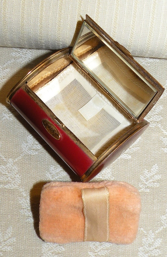 Vintage Chest Compact Mirror Powder Barrel Red Hinged Mirrored Cigarette Case Makeup Case