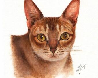 Original Oil CAT Portrait Painting SINGAPURA Art On Canvas Kitten Signed