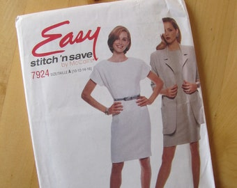 Uncut McCalls Sewing Pattern 7924 - Misses Unlined Jacket and Dress - Size 10-16