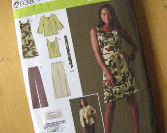 Uncut Simplicity 2938 - MIsses/Women's Dress or Top in Two Lengths, Jacket and Tie Belt - Size 20W - 28W