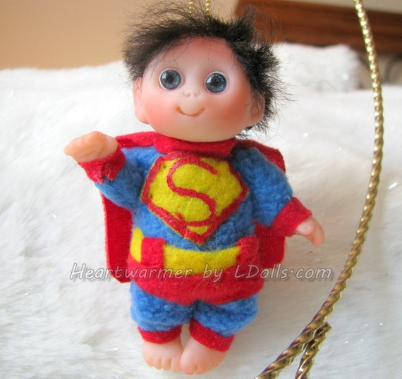 "Baby in  ""Superman""  costume  cute baby doll, decoration for home, for Halloween , Christmas, collectables,"