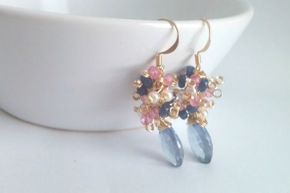Blue Violets, Mystic Quartz, Pink Topaz, Sapphire Jade and Pear Cluster Earrings