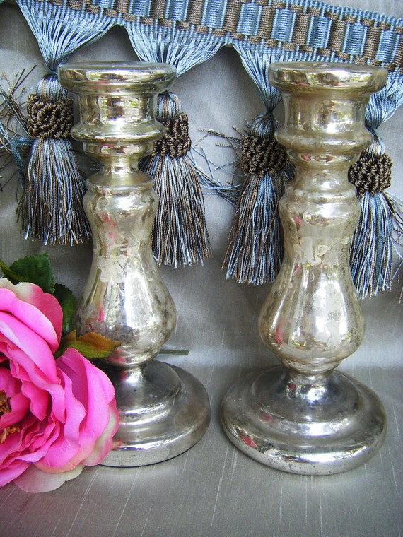 Antique Silver Mercury Glass Candle Holders Pair with Hand Painted Flowers