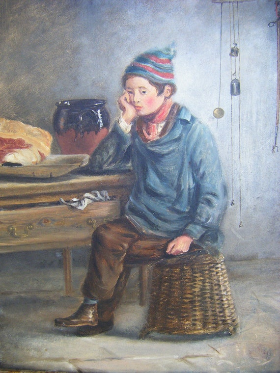 1930's Oil Painting on Artist Board, Boy on Basket with Meat and Clock, European Antique