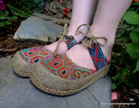 Hmong Embroidered Batik Vegan Lace Up Slides- Heidi 5