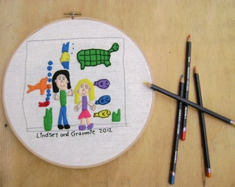 Kids Artwork Embroidery Made To Order Your Childs Drawing into Embroidery For Wall Art