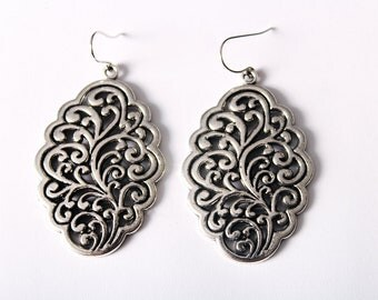 Silver Filigree Earrings Oval Gunmental Intricate Jewelry