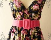 Amor Vintage Inspired Dress Gorgeous Navy Pink Rose Floral Dress Free Belt  Party or Everyday Dress -Fit size S-M-