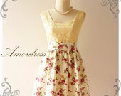 Floral Lace Dress Shabby Chic Vanilla Cream Lace and White Cream and Burgundy Red Floral Dress  -Size S-M-