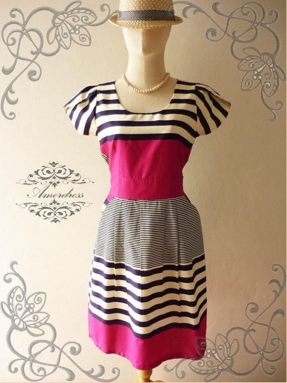 NEW DESIGN ...Amor Vintage Inspired Vintage Retro Chic Pink Stripe Wedding Prom Cocktail Party Dress Everyday Dress -Size M-