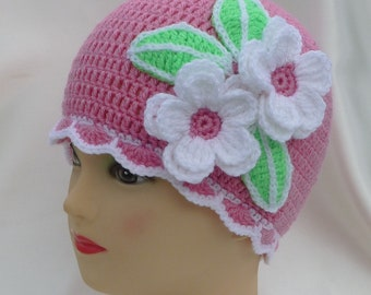 Instant Download Crochet PDF Pattern - APPLE BLOSSOMS hat