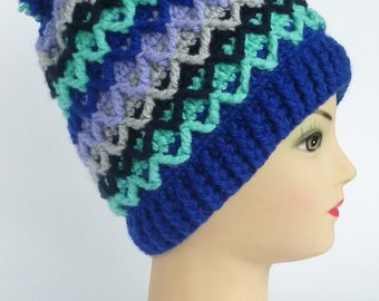 Instant Download Crochet PDF Pattern - Scandinavian style unisex hat with pompom